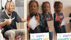 Fans gush as Naira Marley's twin girls read Father's Day letter to singer with beautiful accent
