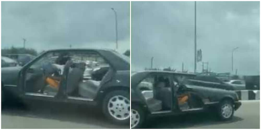 Massive reactions as car without doors is spotted on a busy Lagos road
