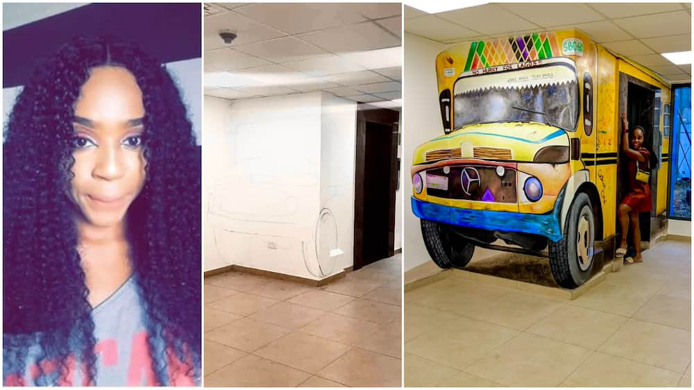 Nigerian lady converts elevator into molue, her artistic photo wows people
