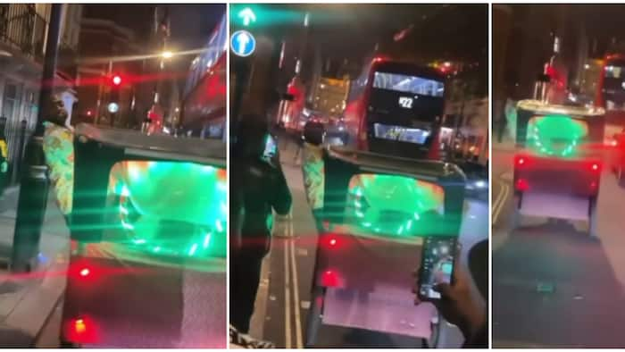 Davido acts like a conductor in London, jumps on a moving 'keke napep' as his boys run after him