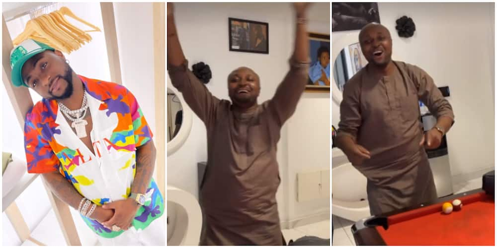 Isreal DMW screams out his lungs in Davido's presence.