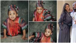 Davido's son Ifeanyi rocks 'aso oke', prostrates like a charming Yoruba prince in adorable birthday photos