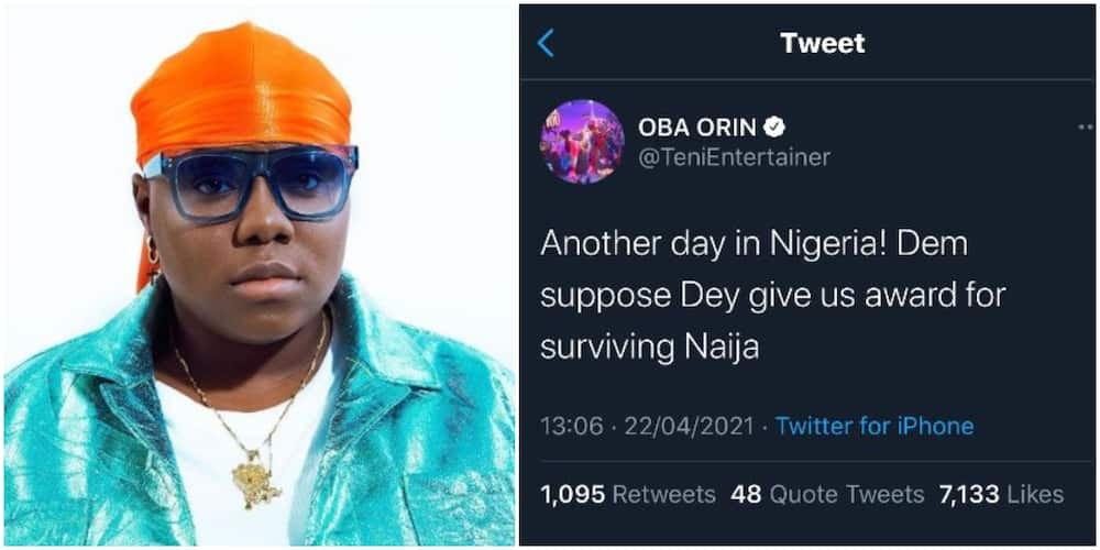 We Should Be Awarded For Surviving Nigeria, Singer Teni Laments Being in the Country