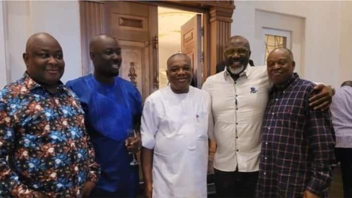 Nigerians react as prominent politicians visit Obi Cubana at his mansion in Abuja, share photo