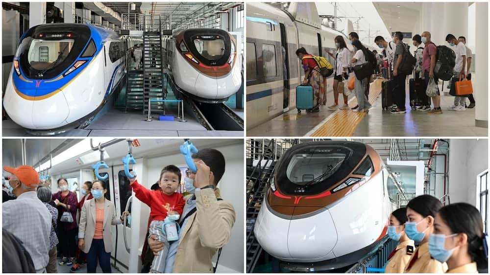 A collage of illustrative pictures of trains in China. Photo source: Getty Images
