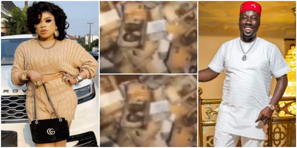 Bobrisky flaunts money in his usual fashion