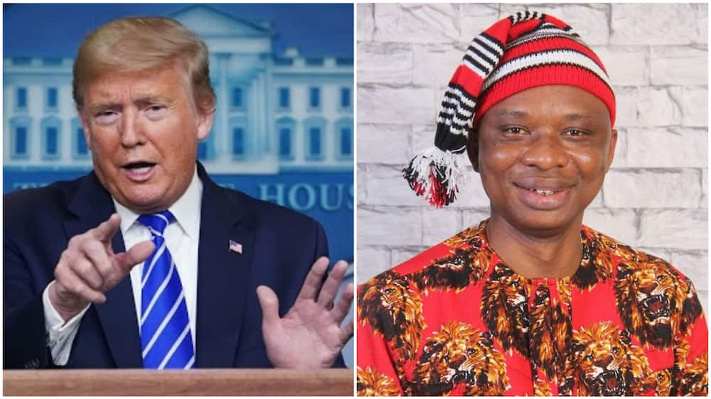 A collage of David Anyaele and President Trump. Photos sources: NYPost/Facebook/US Mission Nigeria