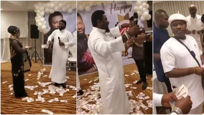 Money rains on Nigerian pastor as he sings with melodious voice on his birthday, many react to video