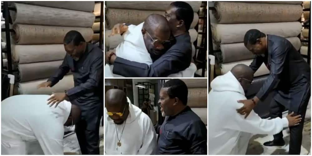 Don Jazzy Star Struck, Prostrates to Greet Kanayo O. Kanayo As He Meets Legendary Actor for the First Time