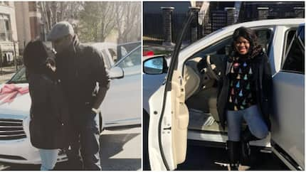 Nigerian lady excitedly screams after hubby surprised her with brand new Infiniti SUV (photos, video)