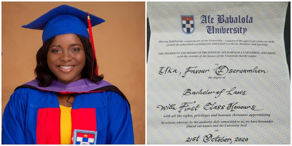 Joy as Nigerian Lady Bags First Class in Law, Shares Her Certificate and What She Plans to do at Law School