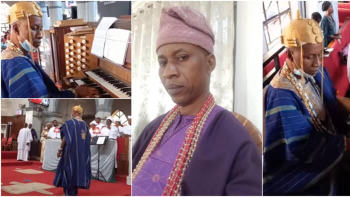 Cute videos of Yoruba king playing organ & conducting choir lights up social media, stir massive reactions
