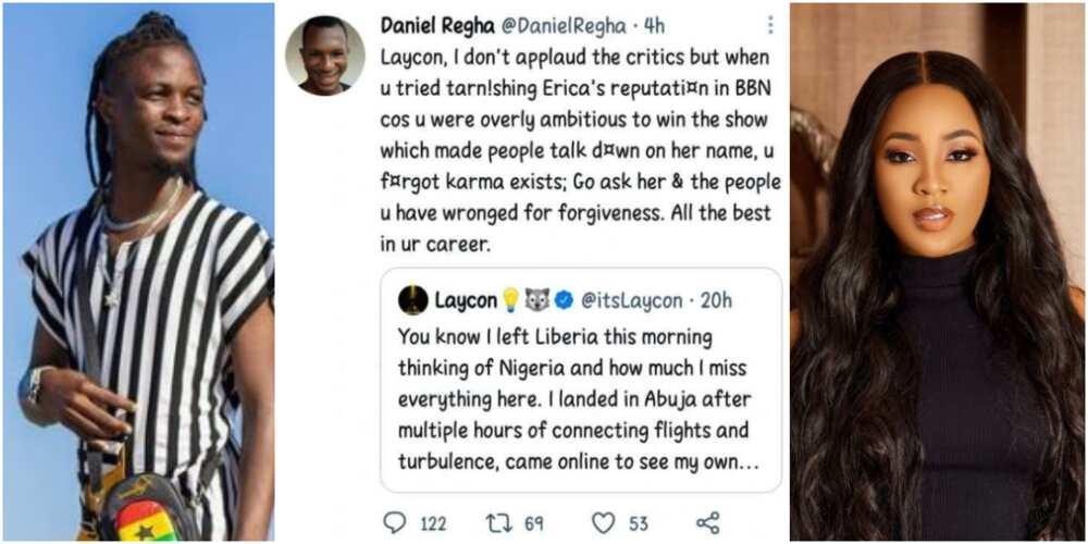 Go and Beg Erica for Forgiveness, Karma Is Real: Man Advises BBNaija's Laycon