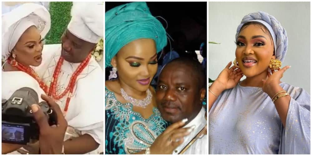 Photos of Mercy Aigbe, her ex-husband, and his new bride.
