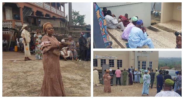 Obasanjo leads by example, observes coronavirus safety rules at mother-in-law's burial (photos)