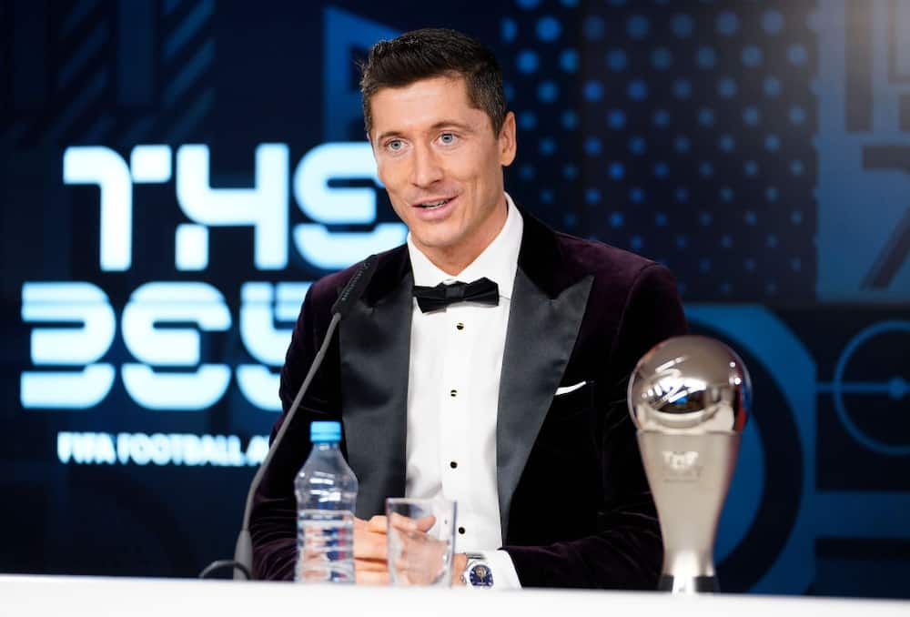 Cristiano Ronaldo looks unhappy after Robert Lewandowski won FIFA The Best award