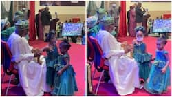 Grandpa duty: Adorable photos of little girls playing with Akeredolu during 2nd term inauguration go viral