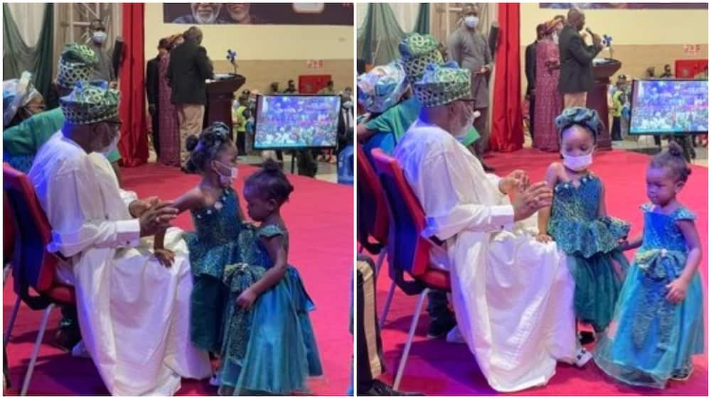 Lovely photos of little girls playing with Akeredolu during 2nd term inauguration go viral