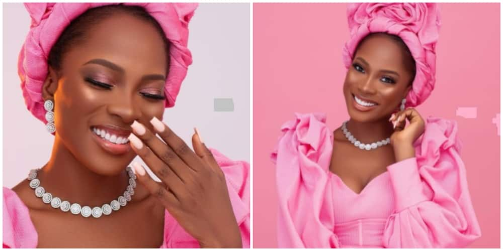 Photos of Jemima Osunde in pink.