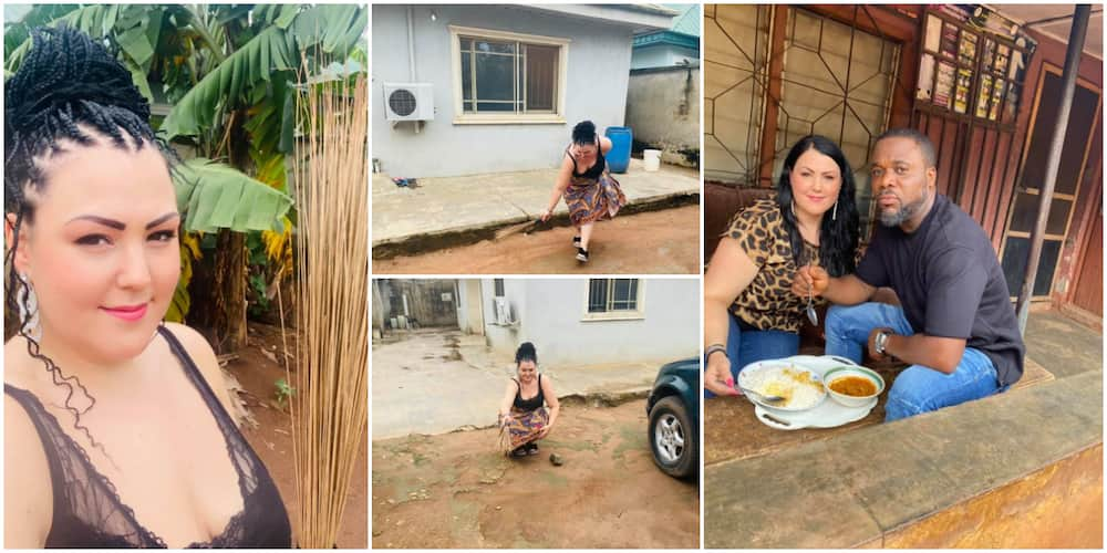 Reactions as pretty Oyinbo lady married to a Nigerian man is spotted sweeping compound in the morning