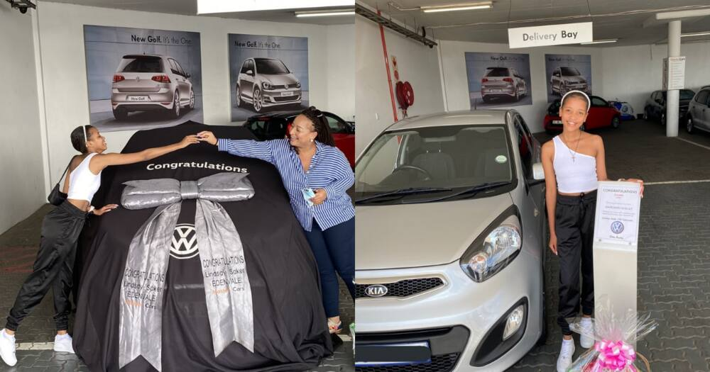 SA woman celebrates getting a new car
