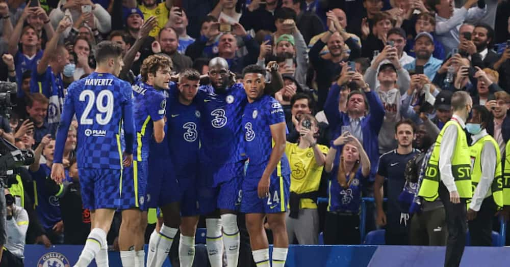 Chelsea players celebrating after scoring during the Champions League. Photo: Getty Images.