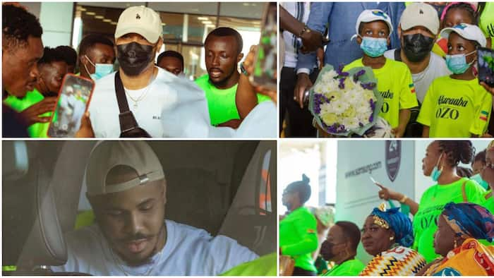 BBNaija's Ozo receives royal-like welcome in Ghana, traditional dancers, fans, others hit the streets