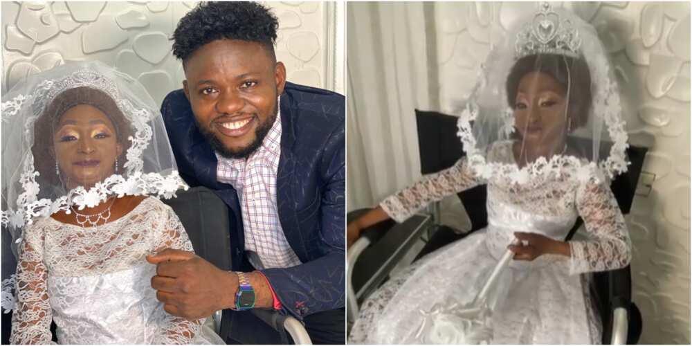 Small-sized Aunty Ramota looking stunning in a wedding dress get Nigerians talking