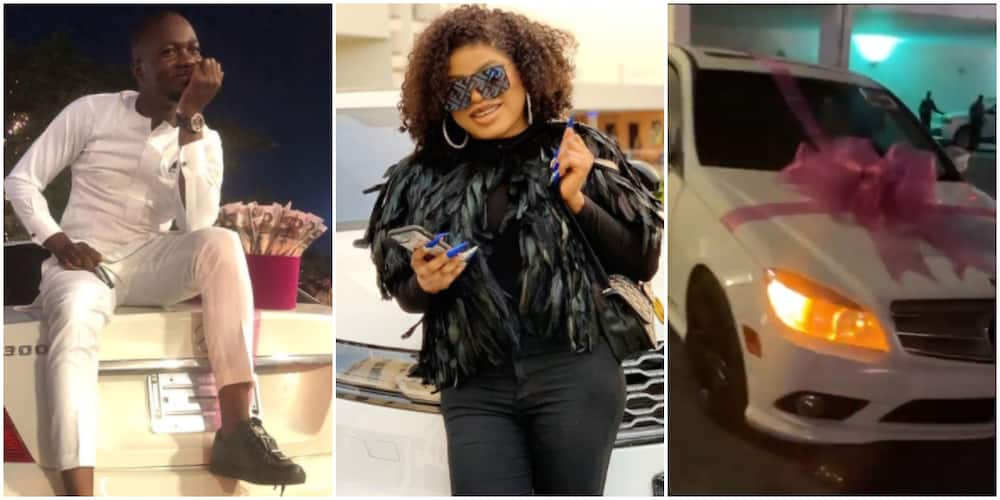 Bobrisky fulfills promise to male fan who got his tattoo, gives him keys to Mercedes Benz