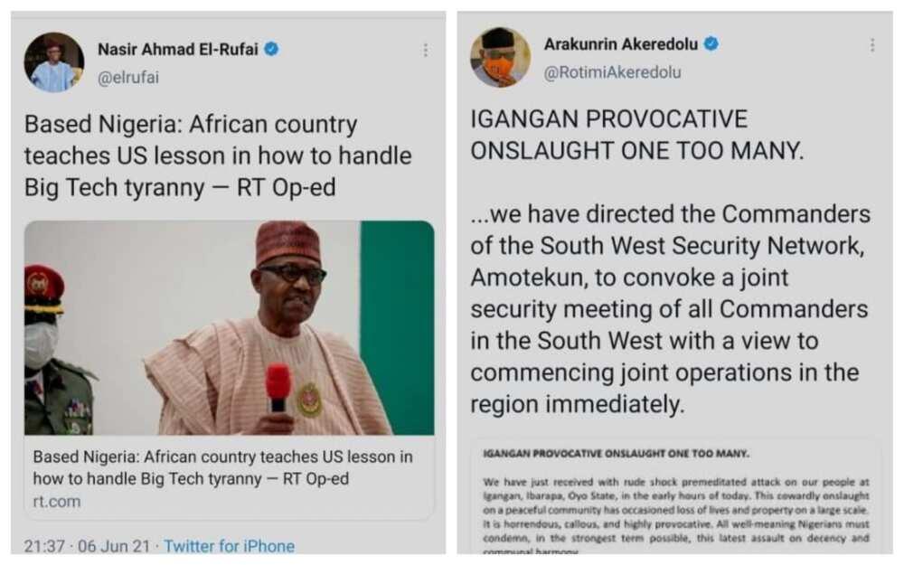 El-Rufa'i da wani gwamnan APC sun bijirewa umarnin Buhari na hana Twitter