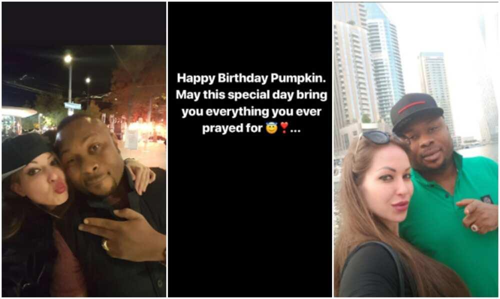 Olakunle Churchill celebrates his famous oyinbo babe who shares birthday date with Tonto Dikeh