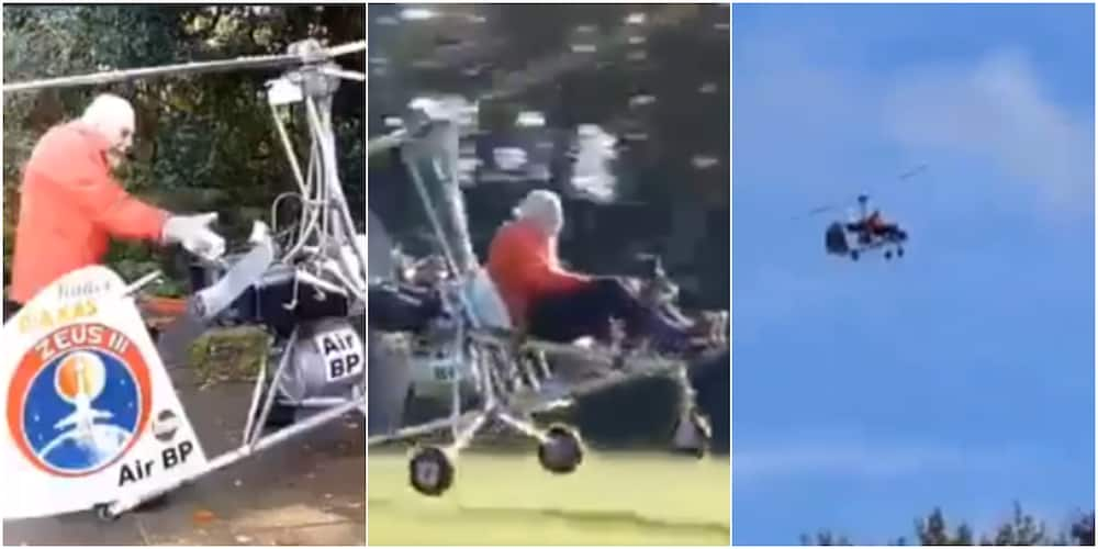 90-year-old grandpa builds helicopter, flies and lands its safely as many gather to watch