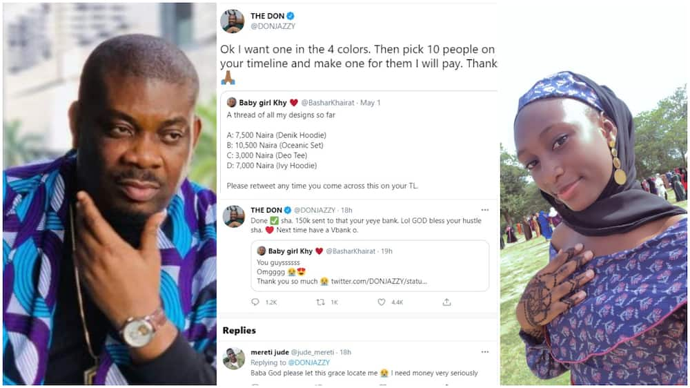Don Jazzy Surprises Young Lady With N150k Purchase on Twitter, Supports Her Clothes Business