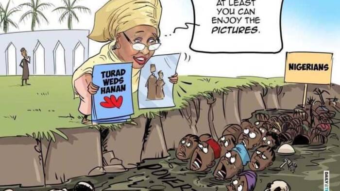 Bikin Hanan: Aisha Buhari ta koka a kan wanda ya yi zanen barkwanci (Hoto)