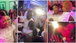Mercy Johnson bursts into tears, kneels down to thank husband as he throws surprise birthday party for her