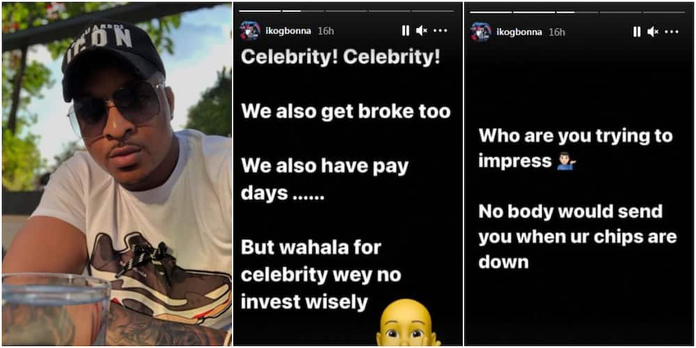 Actor IK Ogbonna tells fans that celebrities also go broke, advises colleagues to invest wisely