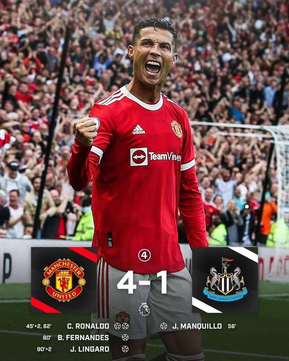 Ya dawo da kafar dama: Ronaldo ya zura biyu yayinda Manchester ta narki Newcastle 4:1