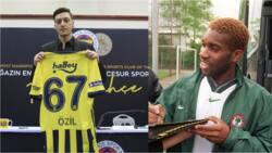 Nigerian legend Austin Okocha reacts after Mesut Ozil referred to him as his idol