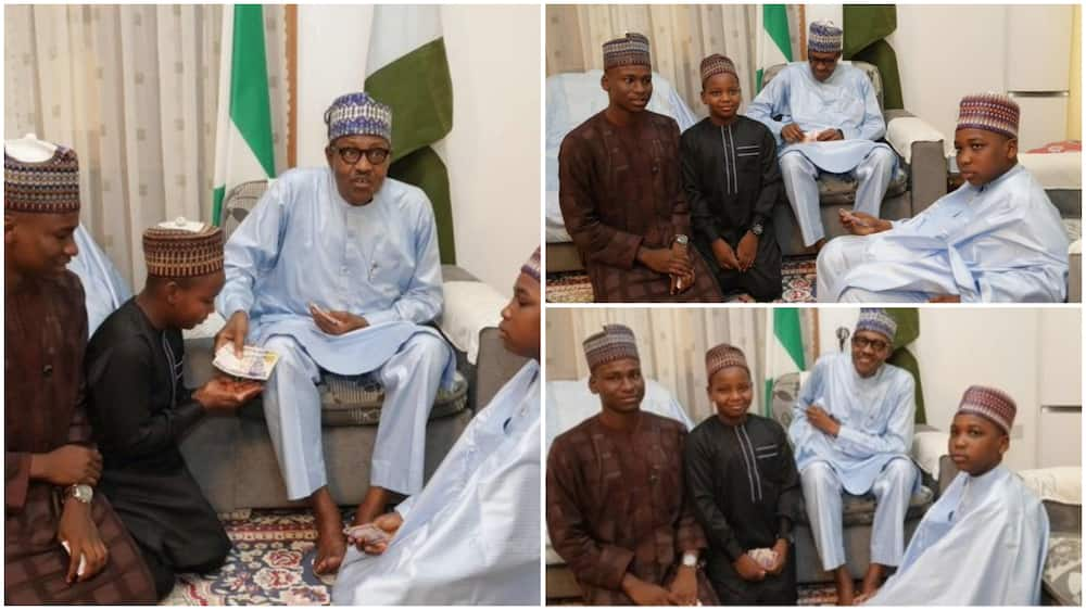 SMAN: Pictures of Buhari sharing Naira notes with children cause stir on social media