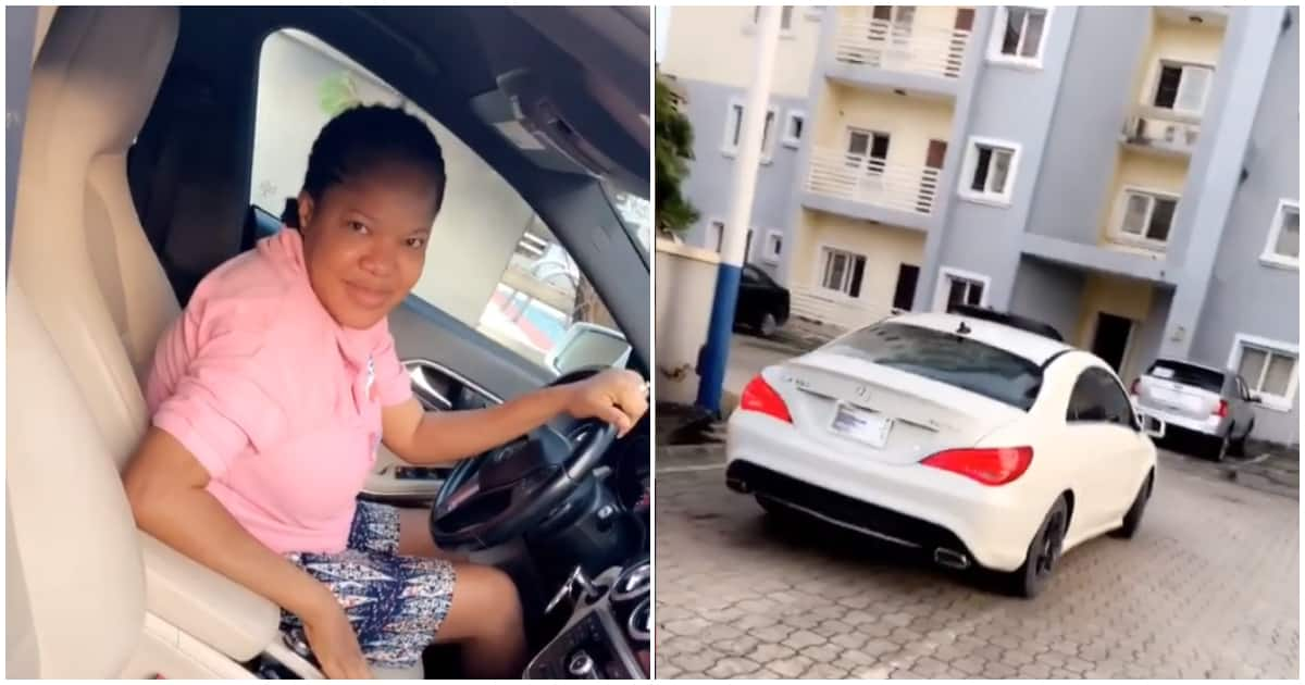 Toyin Abraham acquires brand new Mercedes Benz, husband celebrates her