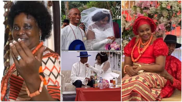 64-year-old woman finally marries for 1st time, she said God did it for her, Nigerians reacts to video