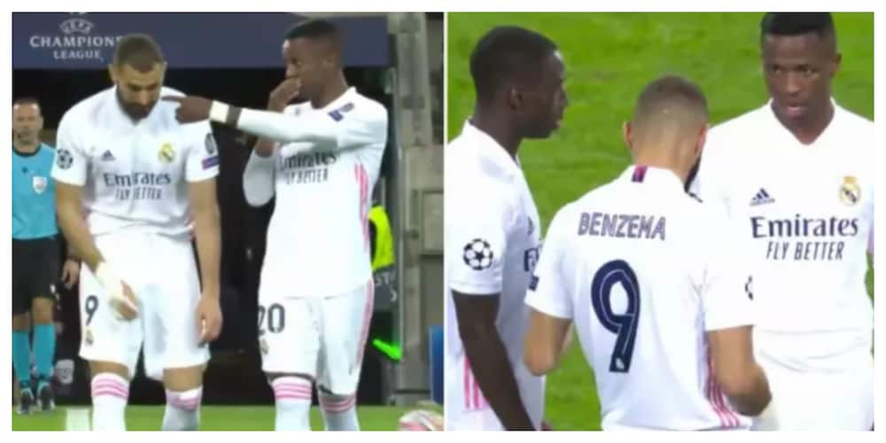 Karim Benzema was spotted telling Mendy he will not pass to Vinicius