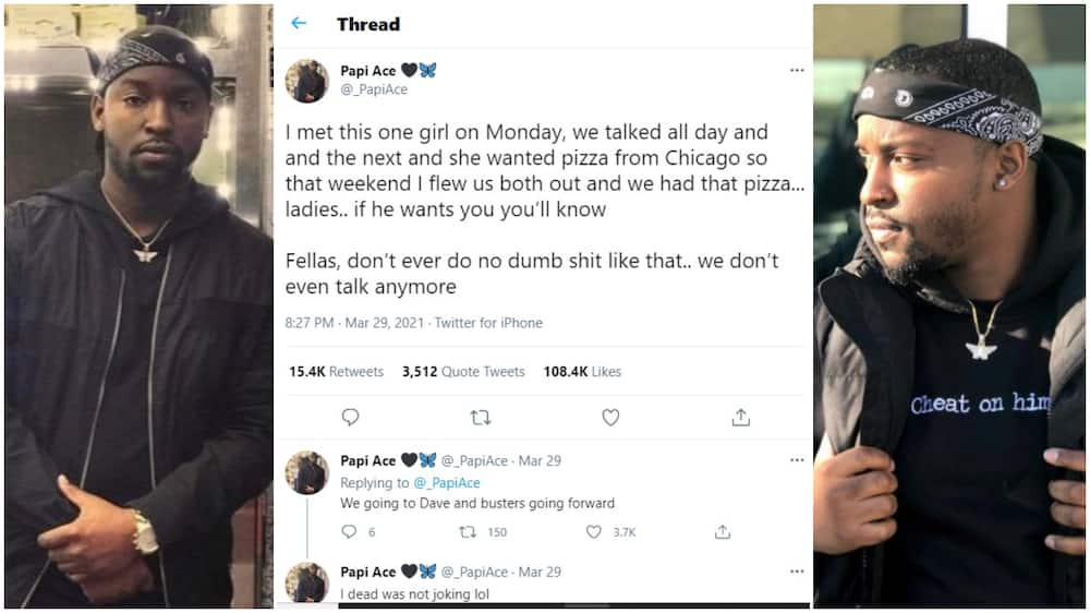 Man 'Cries' after Lady he Flew out to Chicago to eat Food still Dumps him, Revelation Causes Frenzy