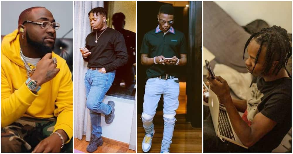 Wizkid, Olamide, Naira Marley unfollow Davido on Instagram (screenshot)
