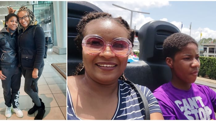 Actress Doris Simeon's son David takes her on a car cruise in Disneyland during their summer vacation