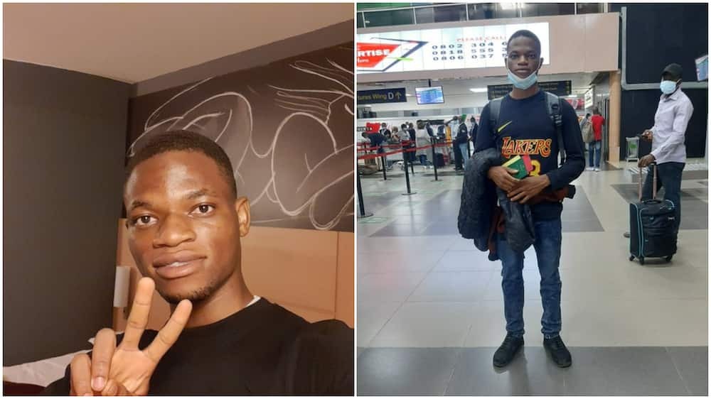 Bye bye Nigeria: Young man relocates to UK, shares his airport photo