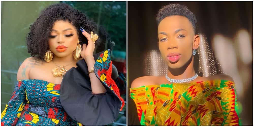 Bobrisky and James Brown in their traditional outfits