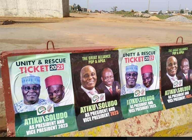 2023 presidency: APGA kicks over Atiku, Soludo's campaign posters