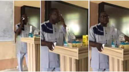 Emotional moment Nigerian lecturer shed tears in class as students surprise him with gifts on 60th birthday