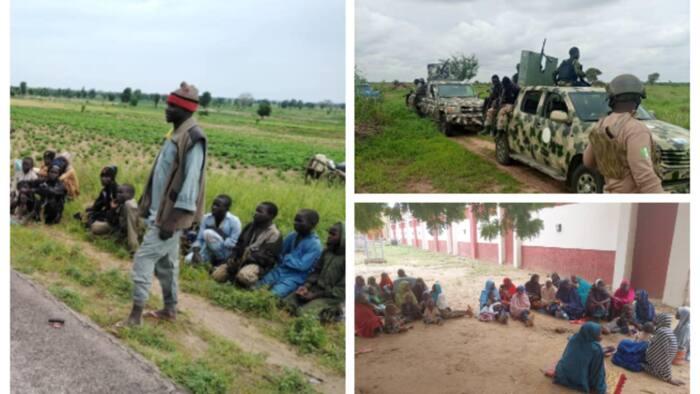 Da duminsa: Rundunar soji ta saki hotunan yan ta'adda, matansu da yara da suka mika wuya ga sojoji a Borno